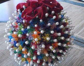 Very Large Vintage Beaded Christmas Ball Velvet Ribbon