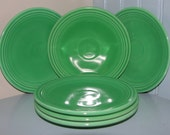 Six HLC Vintage Fiesta Bread and Butter plates in Light Green 1936-59