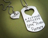 hand stamped father daughter necklace set