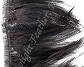 Rooster hackle trim, black on bias tape, per 5 yards