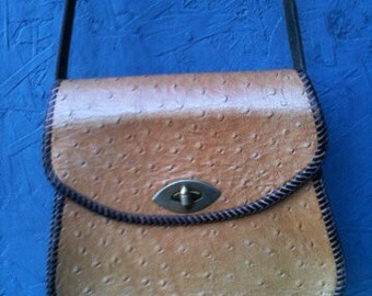 Vintage Leather Hand Tooled Handbag,Purse Dotted  Pattern