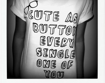 60% OFF SALE Cute As A Button Shirt - Harry Styles, Marcel, One Direction, 1D