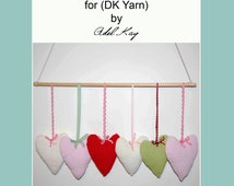 Knitting Pattern PDF Document Kristie Country Cottage Shabby Chic Style Heart Hanger Mobile Aran DK Yarn Pram Toy by Knit Designer Adel Kay