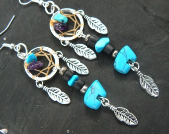 turquoise zuni bear dreamcatcher earrings turquoise amethyst in tribal  inspired boho hippie belly dancer and hipster style