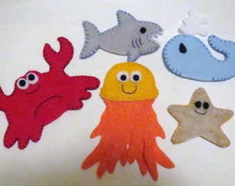 Finger Puppets, Ocean Animals, Sea Creatures, pretend play, handmade felt, felt toy, birthday gift, children, quiet toy, stocking stuffer