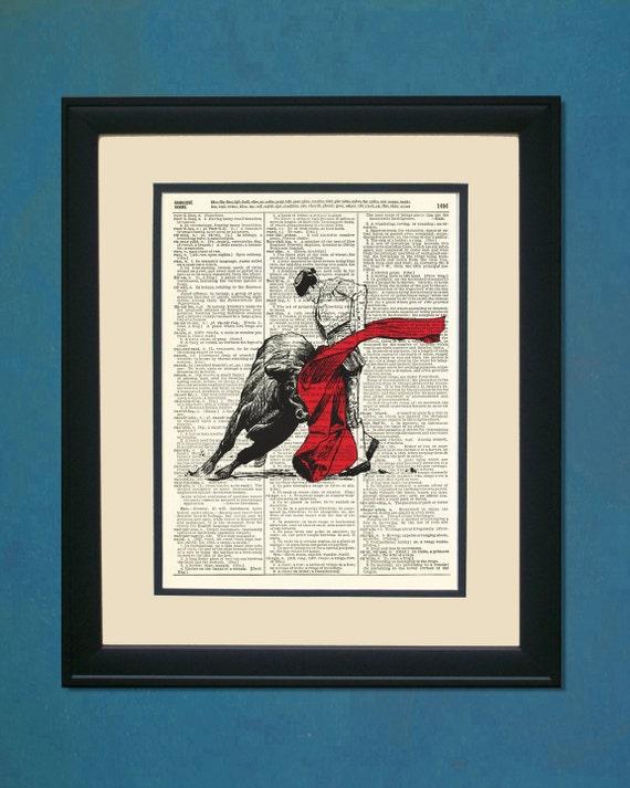 "Matador- Upcycled Dictionary Art Print 8"" X 11"""