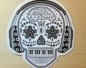 Music Skull Sticker, 100% Waterproof Vinyl Sticker, Pop Culture Sticker