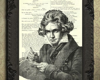 Beethoven print, gift for musician, Ludwig van Beethoven antique illustration, Beethoven portrait, classical music, composers