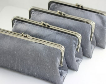 Dupioni Silk in Silver Colour Bridesmaids Clutches / Wedding Gifts / Bridesmaid Gifts - Set of 8