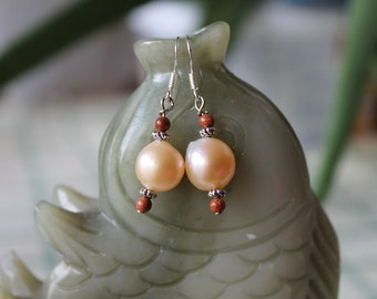 Champagne Color Freshwater Pearl Earrings, sterling silver hook