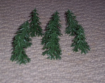 Mini pine trees,plastic, set of 8,Christmas crafting,scenery for model train lay outs,model building