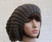 Extra large Knitted Slouchy Mole Beanie hat, Oversized Gray Beanie hat, Chunky knit slouchy hat, winter hat