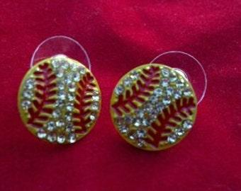 New Rhinestone Flat Softball Earrings