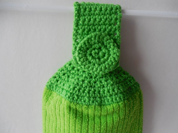 Crochet Kitchen Towel : Green Kitchen Towel with Green Crochet Top - Crochet Top Towel ...