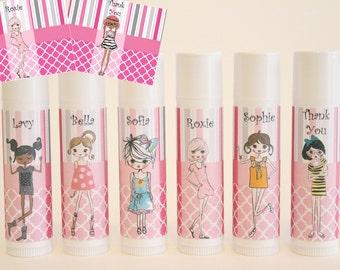 Fashion Party Favors - Fashionista Theme - Teen Party Favor - Fashion Show Party - Custom Lip Balm - Set of 6 - FREE Customization
