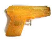 Vintage 50's Toy -  Squirt Gun - Orange Plastic - Water Toy - Retro Plastic - Art Project