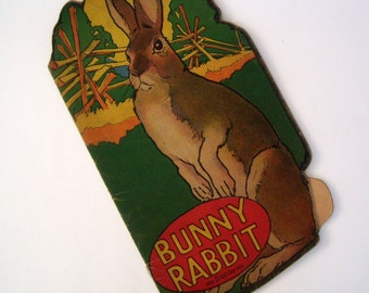 Antique 1922 Children's Book, Titled Bunny Rabbit, Shaped, No. 520 Series, Color and Black & White, Softcover, Rhymes,