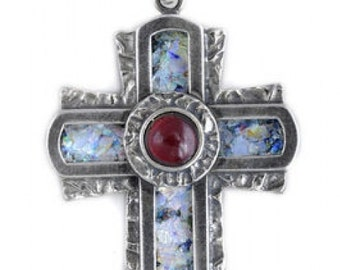 Cross Pendant, Ancient Roman Glass Pendant, Garnet Pendant, 925 Sterling Silver Pendant, 925 Sterling Silver Cross, Unique Jewelry
