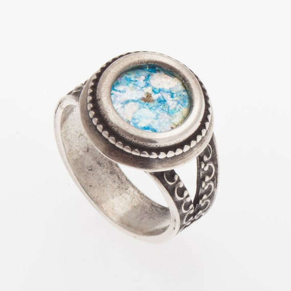 Roman Glass Ring, 925 Sterling Silver Ring, Jewelry size 10