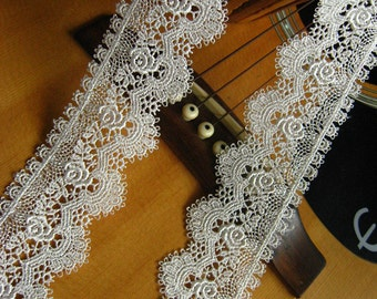 off White Lace Trim, venise lace trim, scalloped lace trim, bridal lace