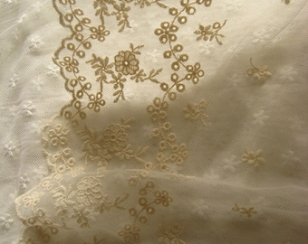 cream lace trim, embroidered tulle lace, vintage floral trim lace, cotton lace trim, mesh lace trim
