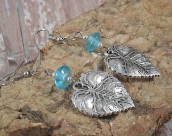 Silver Leaf and Blue Glass Earrings - E-023