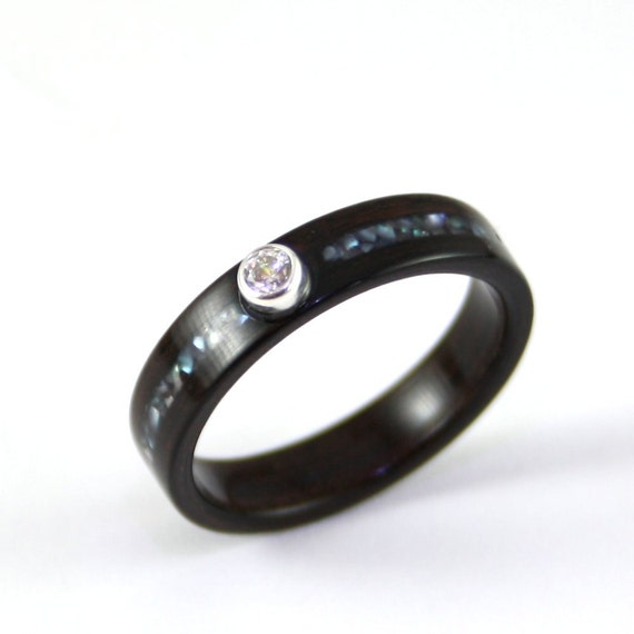 Ebony Wooden Engagement Ring With Crushed Pearl Inlay Set With