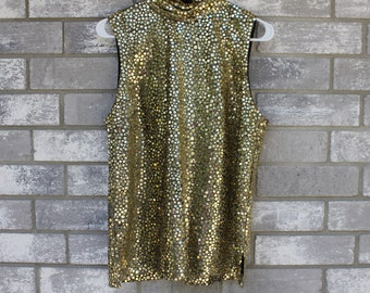 gold sequins shiny tank