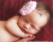 Pink and Rhinestone Glitter Shabby Flower Bow Headband for Newborn Baby Girl - HannahHeadbands