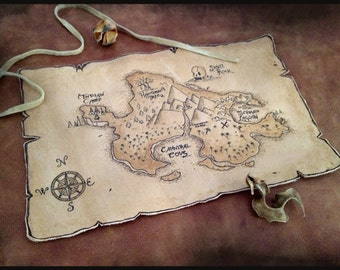 Treasure Pirate Map on Leather 6'' x 9''