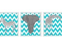 Nursery Wall Art - Elephant Giraffe Zebra - Chevron Turquoise Aqua Gray Decor - Modern Nursery Baby Boy Safari Home Decor set