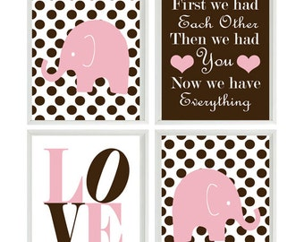 Nursery Art - Elephant Polka Dots Baby Girl Nursery Prints, Brown Pink Wall Art  Love - First We Had Each Other Quote - Nursery Decor