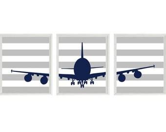 Airplane Nursery Art -  Navy Blue Gray Stripes -  Boy Room Aviation Flying - Baby Boy Nursery Toddler Big Boy Room Wall Art Home Decor