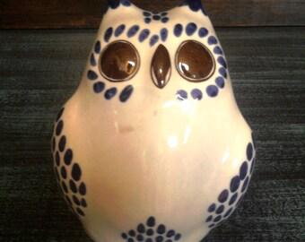 Mexican Folk Art - Hand-painted Tonala Owl