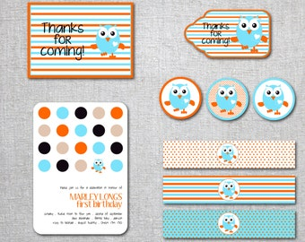 INSTANT DOWNLOAD - Giggle & Hoot - Party Decorations - Water bottle labels, Thank you tags, party tags - Printable, Digital