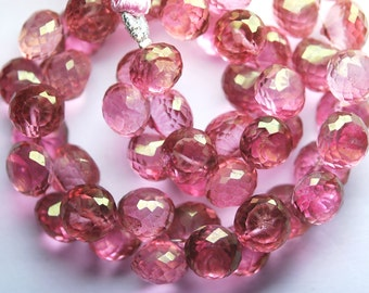 8 Inch Strand, Mystic PINK Quartz  Micro Faceted Onion Shape Briolettes, 7-8mm aprx
