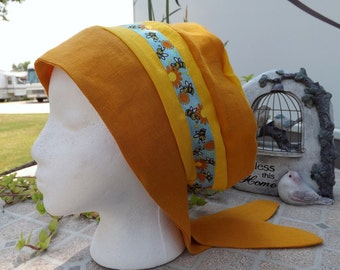 Two Toned 100% Linen Snood with Honeybee Ribbon Trim and Tie Closure
