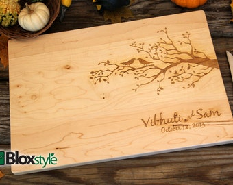 Personalized/Engraved Cutting Board with Tree & Bird Design, Personalized Wedding Gift, Cutting Board, Anniversary Gift Idea, Gift Ideas