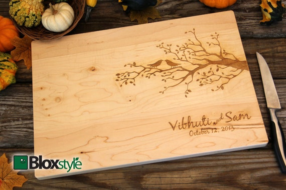 Personalized/Engraved Cutting Board With Tree & Bird Design