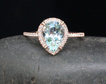 Rose Gold Aquamarine Halo Diamond Ring in 14k Rose Gold with Aquamarine Pear 10x7mm and Diamond Ring