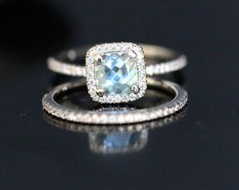 Cushion Aquamarine Diamond Engagement Ring in 14k White Gold with Aquamarine Cushion 6mm and Diamond Wedding Ring Set