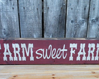 wooden sign, quote sign, farm sweet farm, country rustic, mantle piece