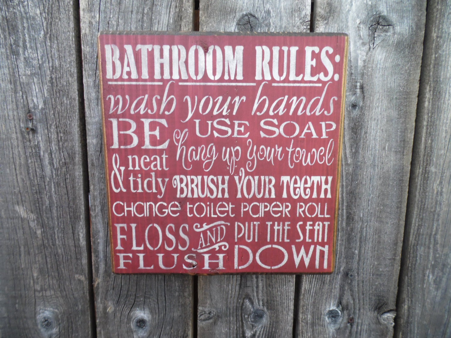 Bathroom Rules Wall Decor : Wooden sign wall art bathroom rules subway decor