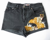 Vintage Faded Glory Cat Print Black Cut Off Leather Denim Distressed Shorts