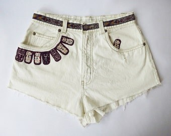 Vintage Billblass High Waist  Bleached and Distressed Denim Cut Off Cat Shorts