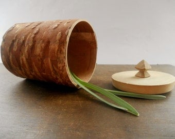Vintage Swedish birch bark trinket box Small Birch bark container with a lid Organic vessel with a lid