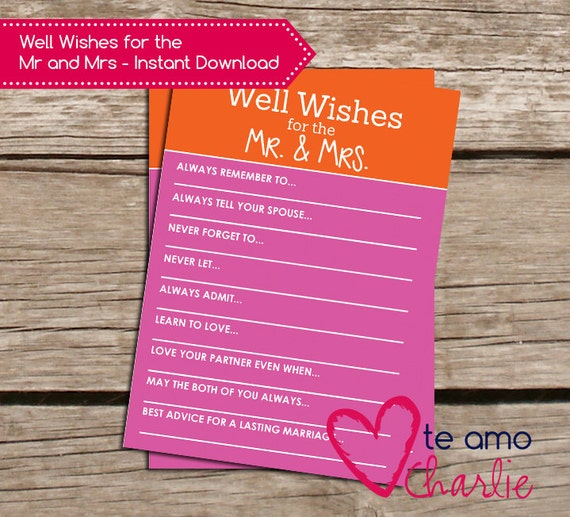 Well Wishes For The Mr And Mrs Printable Wedding Game By