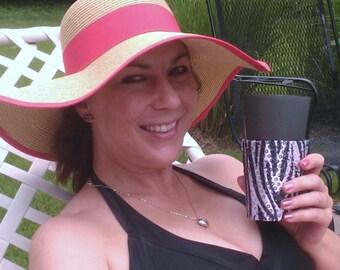 Beverage Insulator #Zebra Silver Sequin Fabric PocketHuggie-EcoFriendly,Reusable,Cold/Hot Drinks-3 Sizes-#Brides #TheKnot #Starbucks #Beer