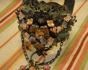 Couture OOAK Handmade VICTORIAN Cuff with Chain by Susan Ray
