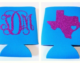 Custom TEXAS Glitter State Can Cooler, State Pride, Personalize Cozy, Tailgate Cozy, Bridal Cozy, Monogrammed Cozy, Chevron State Cozy